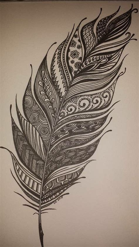 zentangle feather all tangled up pinterest feathers
