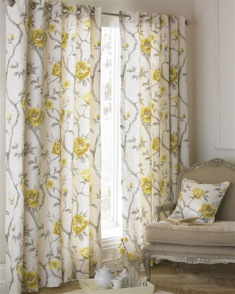 yellow and beige curtains floral flowers on vines ochre yellow beige lined ring top