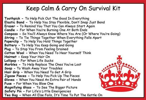 Keep Calm & Carry On Survival Kit In A Can. Humorous