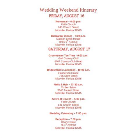 Sle Wedding Weekend Itinerary Template 12 Documents In Pdf Word Psd Wedding Weekend Itinerary Template Free