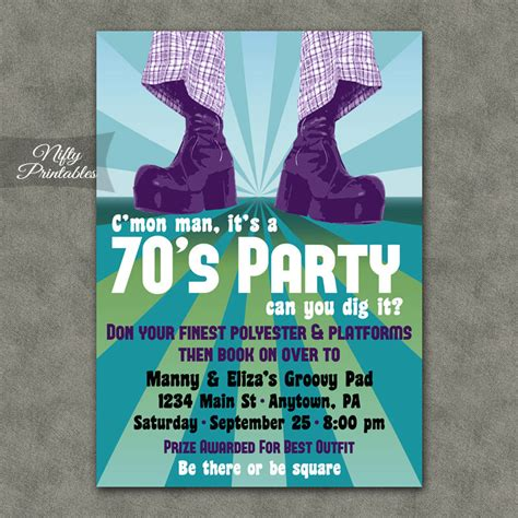 printable themed party invitations 70 s party invitations printable 1970s theme party
