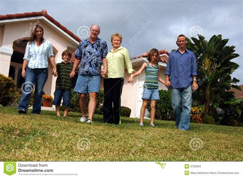 home design for extended family extended family in front of home stock images image 3723904