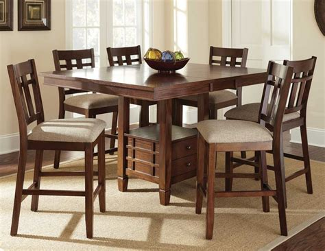 square brown wooden dining table with storage drawers