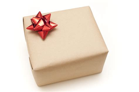 Bow Gift Box photo of plain brown paper wrapped gift box free