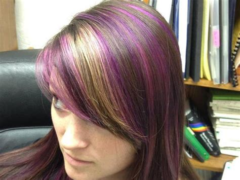 can you have purple highlights for a 60 year woman sparkling brown with burgundy tips for long hair