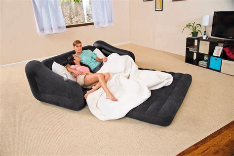 Can You Put An Air Mattress On A Bed Frame Intex Air Sofa With Pull Out Bed Mattress Sleeper 68566e New Ebay