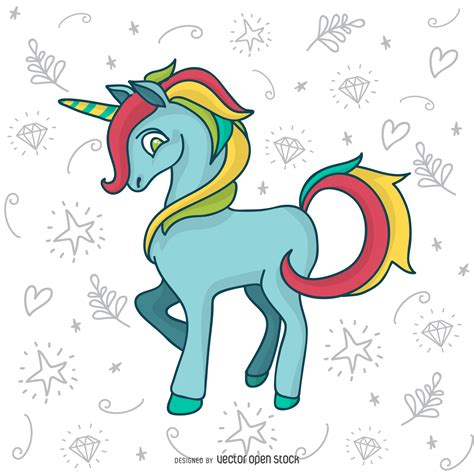 doodle how to make unicorn colorful unicorn doodle drawing vector