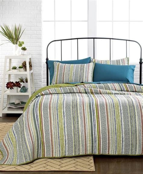 Sunham Quilt by Sunham Tamarind King Striped Quilt Green Ivory Blue