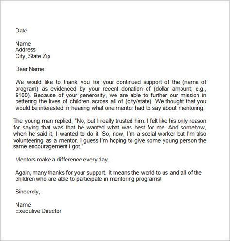 charity thank you letter sle thank you letters for donation 8 documents in