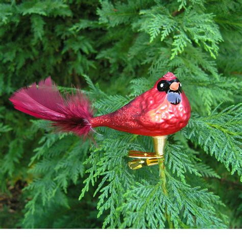 hand blown glass cardinal bird christmas ornament