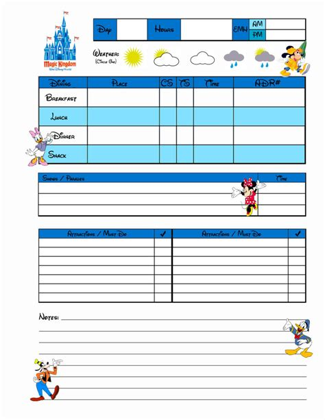 printable disney world planner disney daily planner calendar template 2016