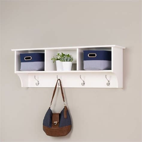 Wall Coat Rack Shelf prepac sonoma white cubbie shelf wall coat rack ebay
