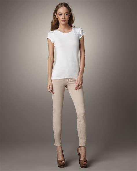 nudge women lyst j brand 811 mid rise skinny twill jeans nude in
