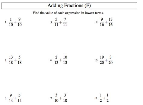 Adding And Subtracting Fractions Like Denominators Worksheet adding and subtracting fractions with like denominators