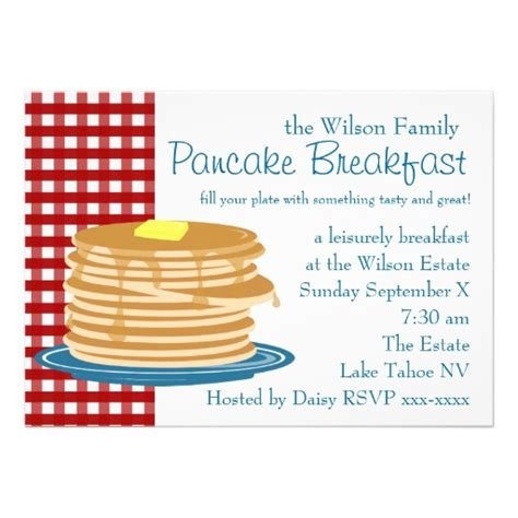 Pancake Breakfast 5x7 Paper Invitation Card Zazzle Breakfast Invitation Template Free