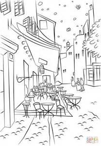 coloriage terrasse du caf 233 le soir par vincent van gogh
