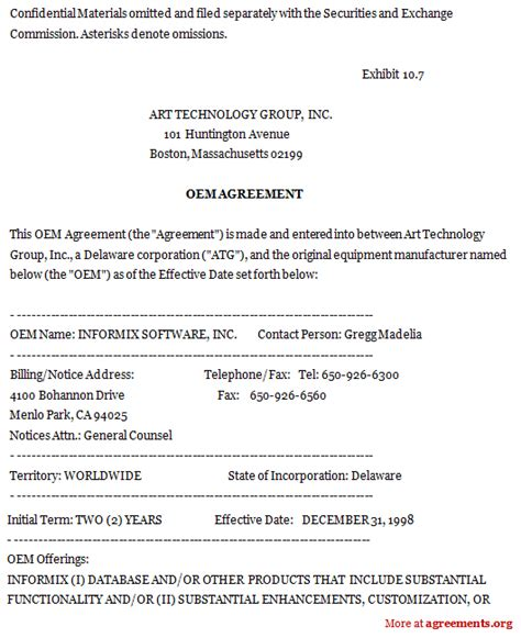 oem agreement template 9 best images of equipment sales agreement template