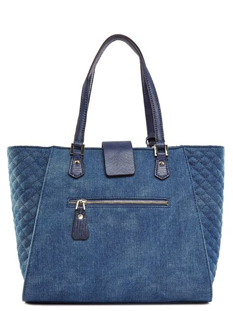 guess s kalen carryall denim tote handbags