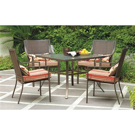Walmart Patio Dining Set Mainstays Alexandra Square 5 Patio Dining Set Stripe With Butterflies Seats 4