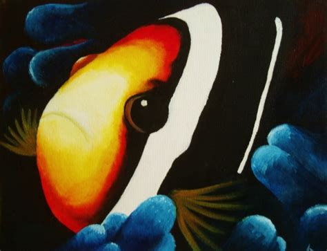 paint nite kent wa learn to paint clown fish in blue coral