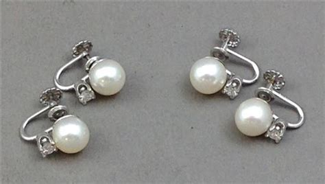2 pairs sted 14k white gold twist back pearl earrings wit