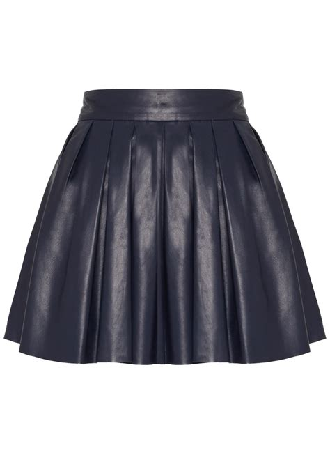 box pleat leather skirt in blue navy lyst