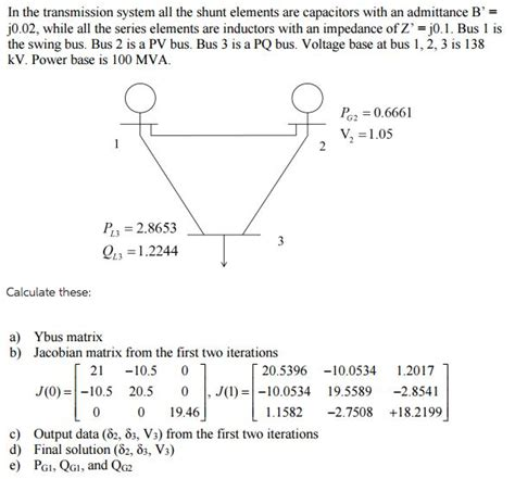 impedance of shunt capacitor in the transmission system all the shunt elements chegg