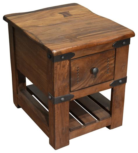 Rustic End Tables Greenview Rustic Solid Wood Live Edge Side Table With 1 Drawer Rustic Side Tables And End