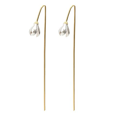s925 silver gold plated drop earrings magnolia flower