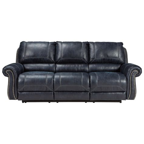 Faux Leather Reclining Sofa With Rolled Arms Nailhead Faux Leather Reclining Sofa
