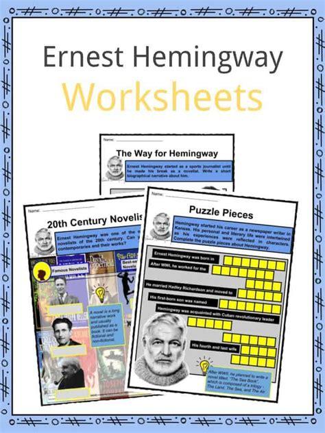Ernest Hemingway Biography Worksheet | ernest hemingway facts worksheets books biography for kids