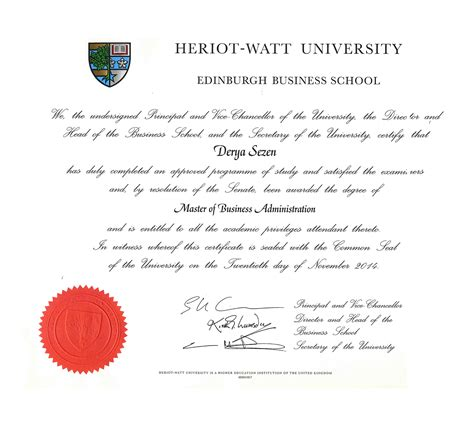 Mba Degree Uk by Certificates Derya Sezen