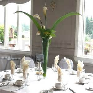 Glass Trumpet Vase Tall Centerpieces For Wedding With White Calla W Flowers