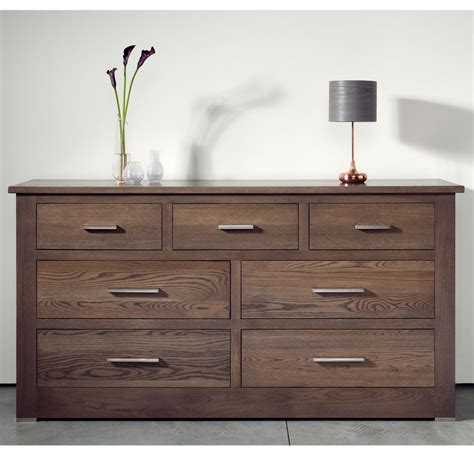 bedroom drawer quercus solid oak 4 3 extra wide chest of drawers con
