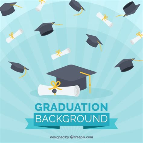 backdrop design for graduation blue background with diplomas and graduation caps vector