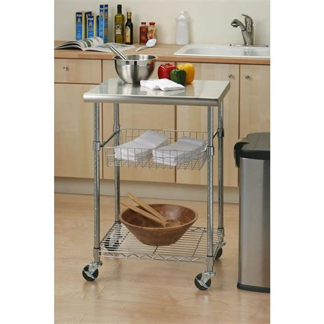 Kitchen Cart by Seville Classics Stainless Steel Kitchen Cart With Shelf