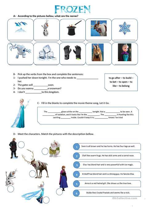 printable frozen worksheets frozen movie vocabulary exercise worksheet free esl