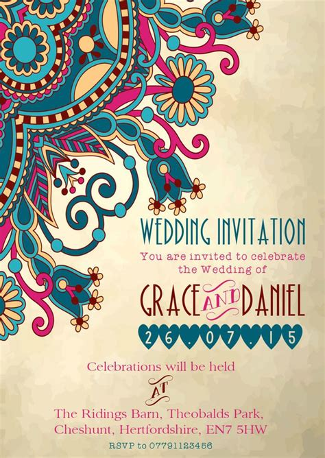 Indian Theme Wedding Invitations by Details About Personalised Moroccan Indian Wedding