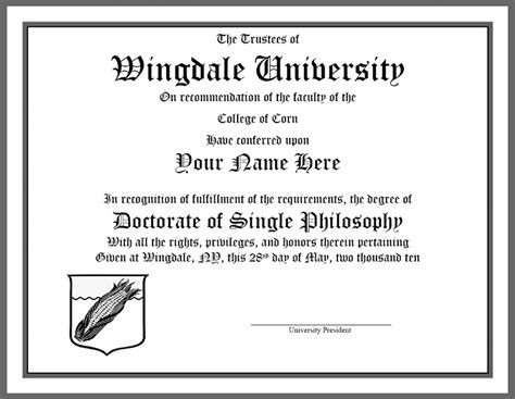 wingdale university graduation diploma