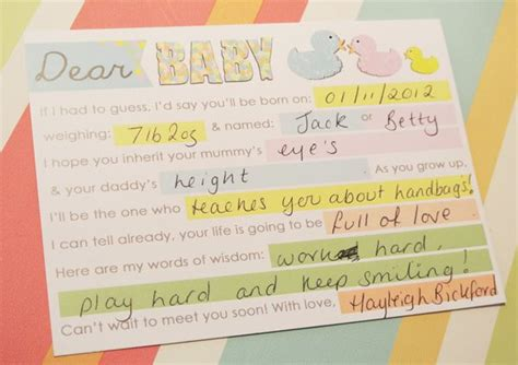 Baby Shower Sweepstake Template - dear baby free printable cards baby shower pinterest