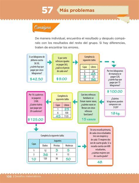 pagina contestada 109 de desafios matematicos quinto grado m 225 s problemas bloque iii lecci 243 n 57 apoyo primaria