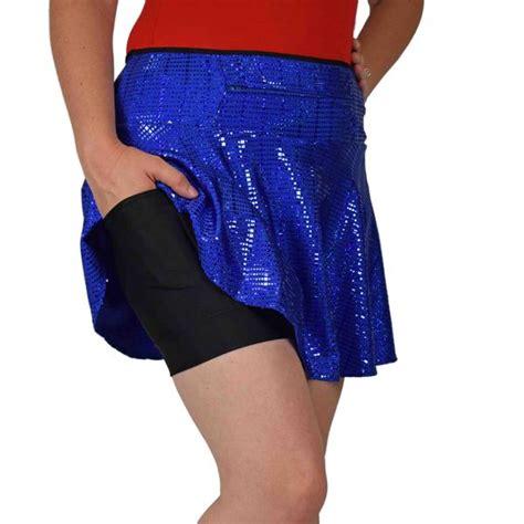 sparkleskirts royal blue shimmer running skirt