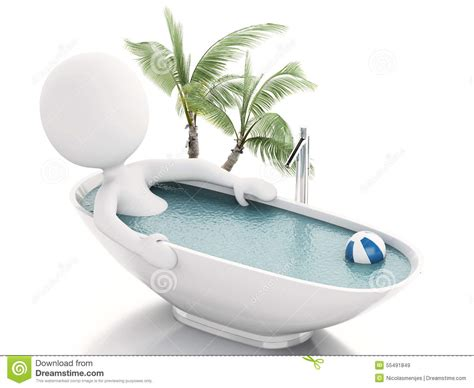 person in bathtub 3d white person relaxing in a bath stock illustration