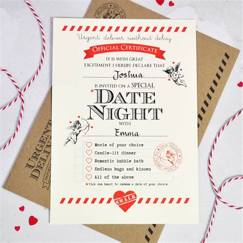 Personalised Date Night Certificate By Eskimo Kiss Designs Notonthehighstreet Com Date Gift Certificate Templates