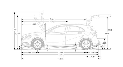car dimensions in the chassis and suspension of the mercedes a class 2013