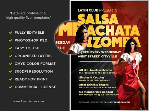 templates for dance flyers latin dance night flyer template flyerheroes