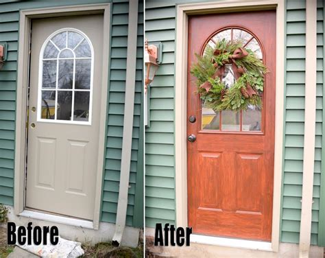 Thrifty Transformation How To Paint A Door To Look Like How To Paint A Steel Front Door