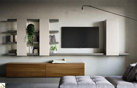 parete con mensole soggiorno elegante e made in italy bolu arredo design