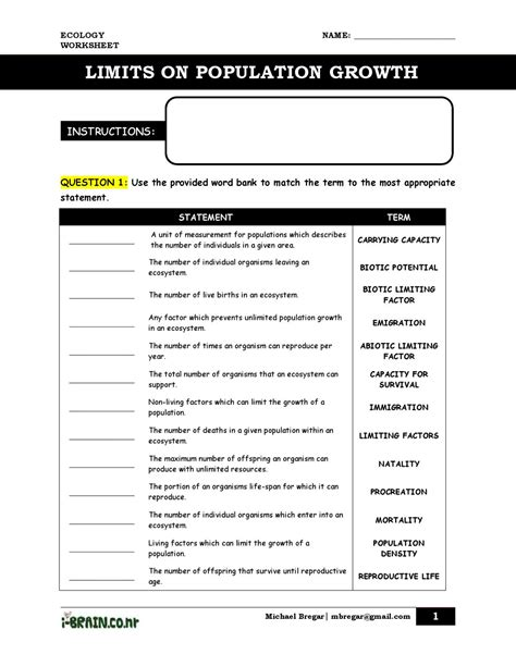 Limiting Factors Worksheet Answers by Uncategorized Limiting Factors Worksheet Klimttreeoflife