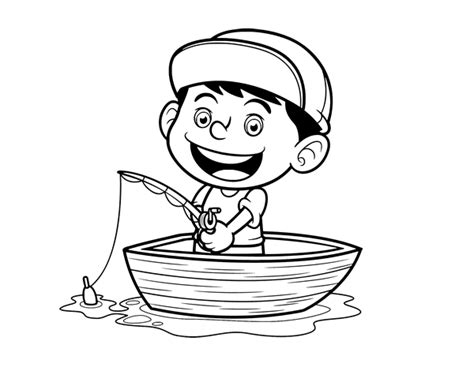 coloring page of little boy fishing little boy fishing coloring page coloringcrew com